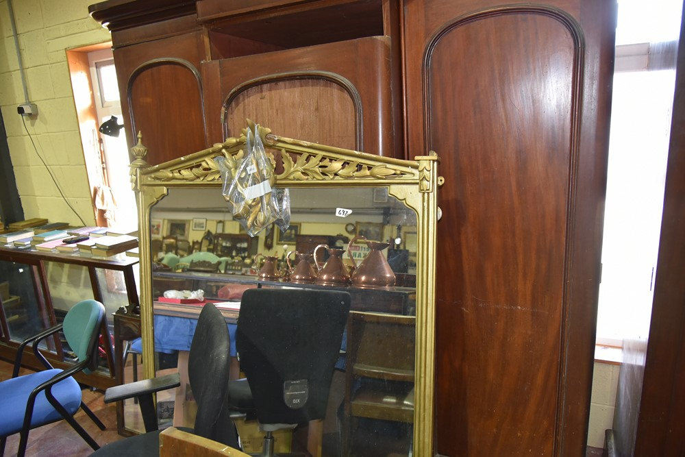 697.Large Vict Gilt Mirror.