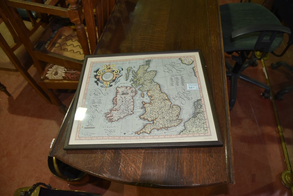 581.	Old Map in Frame.